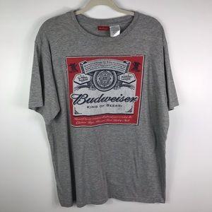 Budweiser grey short sleeve tee front logo